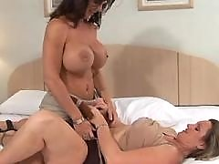 Breasty mature lesbians have fun